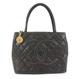 Authentic Chanel Medallion Lambskin tote black